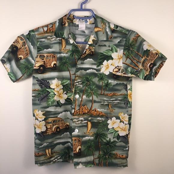 Ky's Other - Hawaiian shirt by Ky's size medium boys green